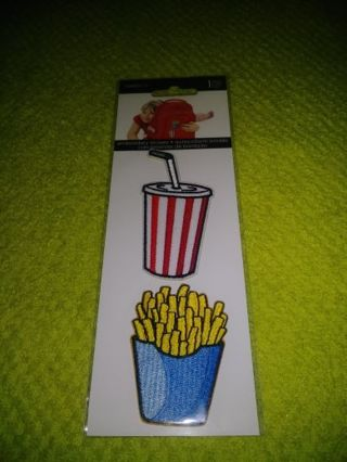 ❤✨❤✨❤️BRAND NEW 2-PACK OF EMBROIDERY(DRINK & FRENCH FRY) STICKERS❤✨❤✨❤