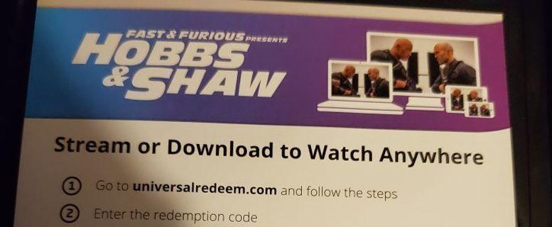 Hobbs and shaw movie code