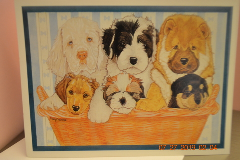 ****BASKETFUL OF PUPPIES BLANK CARD W/ENVELOPE***FREE SHIPPING