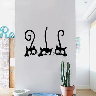 Lovely 3 Black Cute Cats Wall Sticker Moder Cat Wall Stickers Girls Vinyl Home Decor Cute Cat Livi