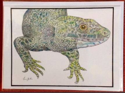 "GREEN LIZARD - 5 x 7"" art card by artist Nina Struthers - GIN ONLY"