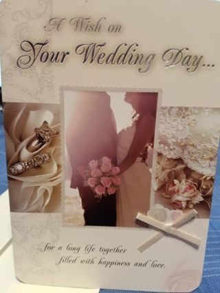 """ A WISH FOR YOUR WEDDING DAY"" CARD W/ ENVELOPE"