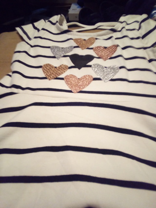 Heart Striped Black & White 2T Top
