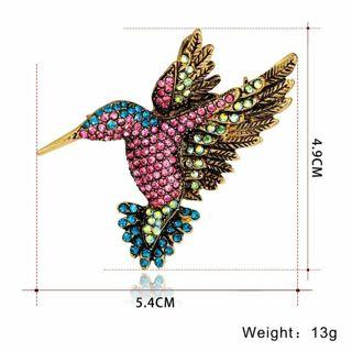 Fashion Hummingbird Crystal Brooch Pin Women Costume Jewelry