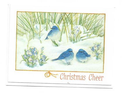 Christmas Card Unused With Envelope Blue Birds