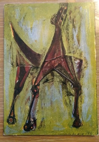 Postcard Marino Marini Vintage DOG ART Cavallo 1953 UNUSED Milano Italy Very Nice!