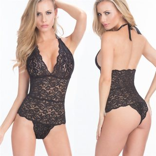 Plus Size Sexy Lingerie Hot Lace V-neck Halter Teddy Lingerie Sexy Babydoll Erotic Lingerie Women