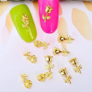 10Pcs/Lot 5*9mm 4*8mm Gold Silver Rose Flower  3D Metal Alloy Nail Art Decorations Nail Gel Sticke