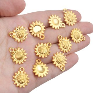 10pc GP Sunflower Pendant Charms Lot 11 (PLEASE READ DESCRIPTION)