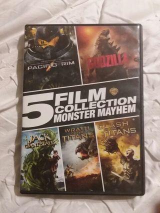 5 film dvd collection Wrath of the titans clash of the titans Godzilla & more!!