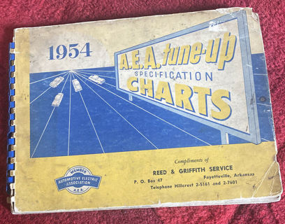 1954 A.E.A. TUNE UP SPECIFICATION CHARTS Shop Service Manual FORD CHEVY BUICK