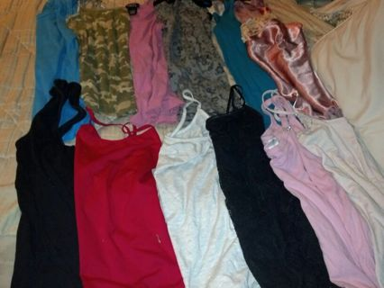 Womens spaghetti strap and tank tops all size large 12 total