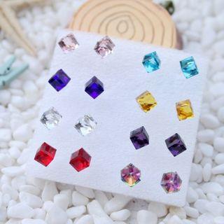 8 Pairs 6mm Shiny Multicolor Crystal Cube Ear Earrings Stud