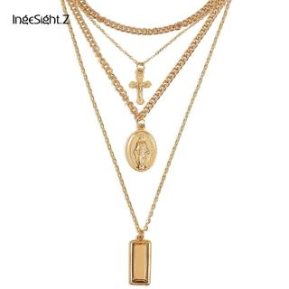 Ingesight Multilayer Crucifix Cross Virgin Mary Pendant Chain Choker Necklace Goddess Rectangle Pe