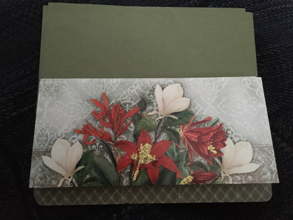 SET OF 4 SPARKLED WITH GOLD CHRISTMAS CARDS WITH GREEN ENVELOPES