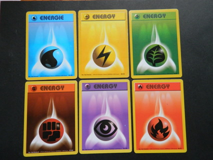 c1999 Wizard Pokemon ENERGY Cards - Blue Yellow Green Red Purple & Fire! (BASE SET xx/102)