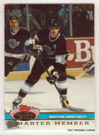 Wayne Gretzki 1991 Topps Stadium Club Charter Member Card, Los Angeles Kings  (1)