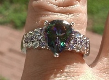 LOVELY STERLING SILVER RAINBOW TOPAZ & LILAC AMETHYST RING SZ 7 FREE GIFT  FREE US SHIP