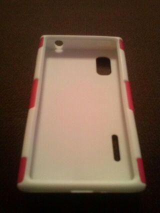 2 pc. Pink/White Hybrid cell phone case*BONUS*