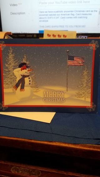 PATRIOTIC SNOWMAN SALUTING OUR AMERICAN FLAG CHRISTMAS CARD W/ MATCHING ENVELOPE