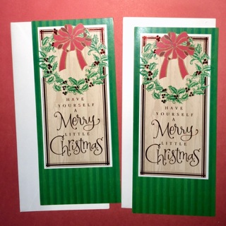 2 New Identical Money Holder Style Christmas Cards with Envelopes.