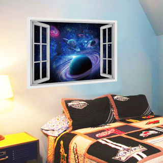 3D Universe Planet Bedroom Living Room Wall Stickers Decorative Painting