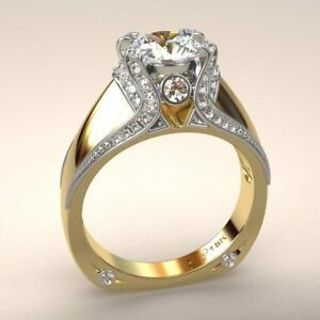 Luxury 18K Gold Round White Sapphire Promise Engagement Ring Bride Jewelry Gifts