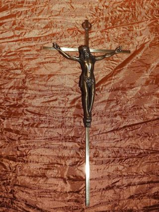 vintage wall cross, goldtone / bronze color #1