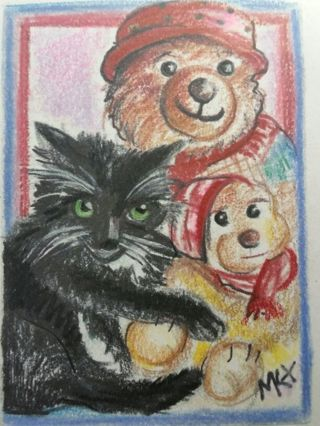 Blacky the Cat- My Original MK Drawing ATC / ACEO print of a Custom card