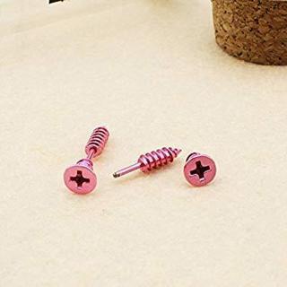 BRAND NEW Genuine SCREW Earrings SILVER PINK TITANIUM