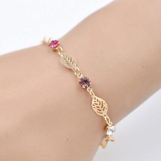 NEW 2018 - Chic Simple Retro Women Girl Jewelry Rhinestone Leaf Chain Bracelet Bangle Gift