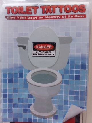 Toilet Tattoos DANGER Authorized Personnel Only Decorative Decal for Bathroom