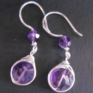 925 sterling silver natural amethyst wire wrapped earrings