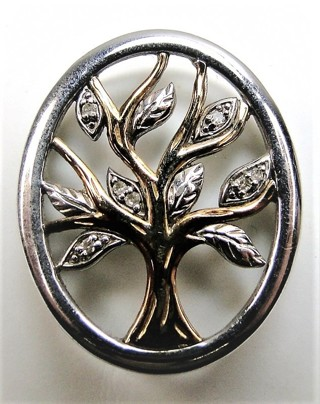 14k Sterling Diamond Tree Of Life Necklace
