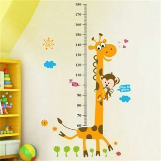 [GIN FOR FREE SHIPPING] Removable Height Chart Measure Wall Sticker Giraffe