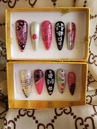 Hand Painted and designed stiletto press on nails