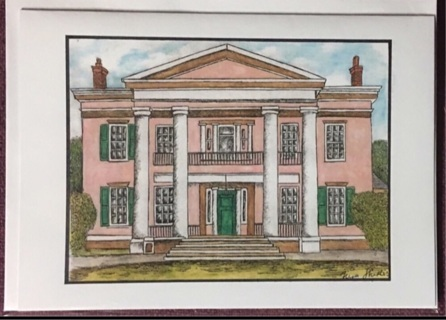 "PINK MANOR HOUSE - 5 x 7"" art card by artist Nina Struthers - GIN ONLY"