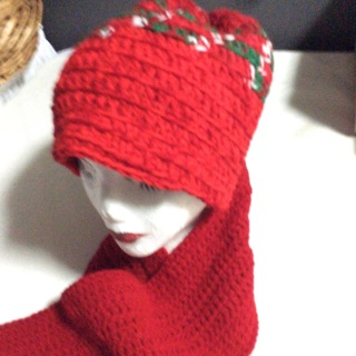 Hand Crochet Holiday Scarf and Hat .