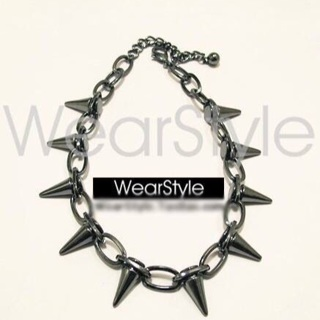 Goth Spiked Hollow Necklace Bracelet SET