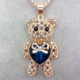 Crystal Bear Heart Pendant Necklace NEW