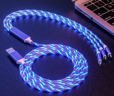 New 3 in 1 LED GLOW Light UP USB Charger Cable