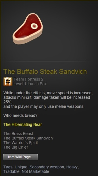 Free The Buffalo Steak Sandvich Tf2 Ingame Item Other Video