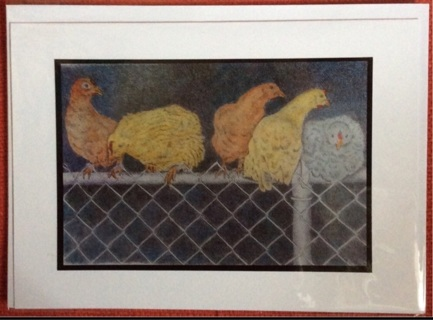 """CHAINLINK CHICKENS - 5 x 7"""" art card by artist Nina Struthers - GIN ONLY"""