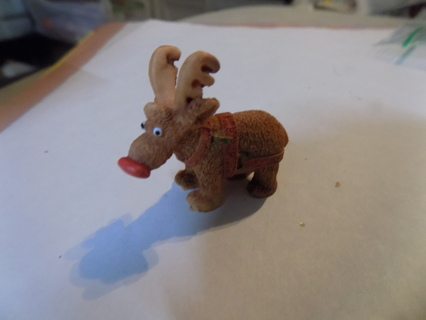 2 inch resin whimsical reindeer red nose & reins