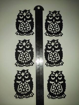6 owl die cuts - black