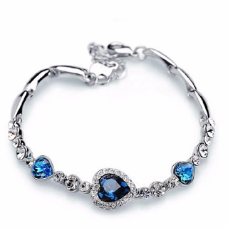 Fashion Jewelry Silver Crystal Heart Charm Bracelets