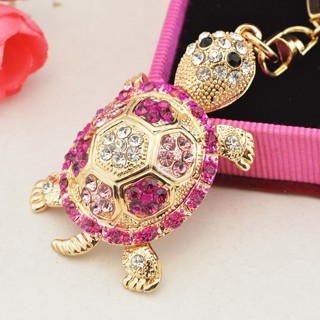 1 x Novelty Rhinestone Tortoise Keychains Keyring Fashion Animal Turtle Metal Crystal Pink Purse