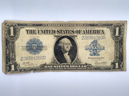 1923 One Dollar Silver certificate Blue seal Large Size Horse Blanket