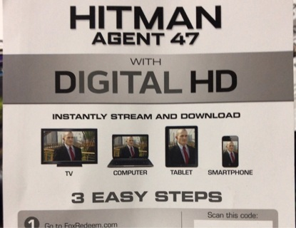 Hitman Agent 47 UV digital copy