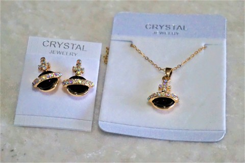 BNIP Saturn Style 3 Piece Austrian Crystal Jewelry Set Necklace Pendant And Earrings Gold Plated